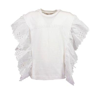 Blusa bianca in jersey di cotone con dettagli pizzo