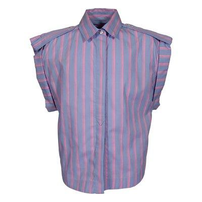 Camicia azzurra con righe a contrasto fucsia in popeline di cotone