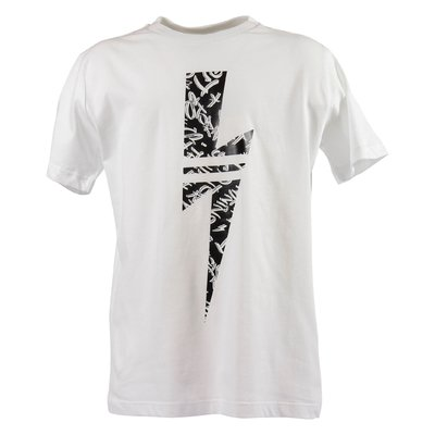 White iconic thunderbolt print cotton jersey t-shirt