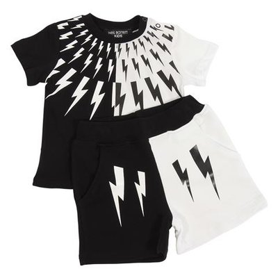 Neil Barrett white and black cotton t-shirt and shorts set