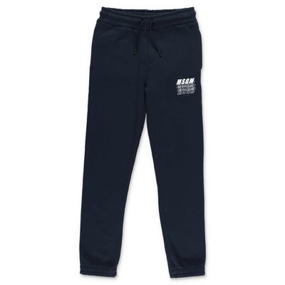 MSGM blue logo detail cotton sweatpants