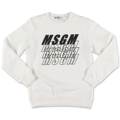 MSGM felpa bianca in cotone con multi logo