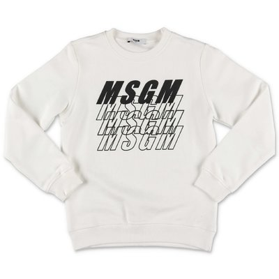MSGM white multi logo cotton sweatshirt