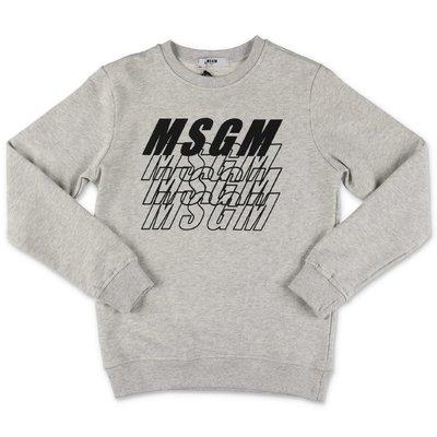 MSGM felpa grigio melange in cotone con multi logo
