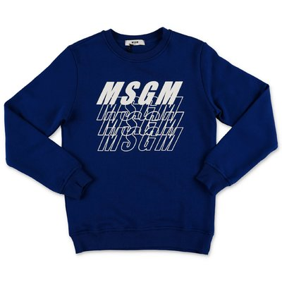 MSGM blue multi logo cotton sweatshirt