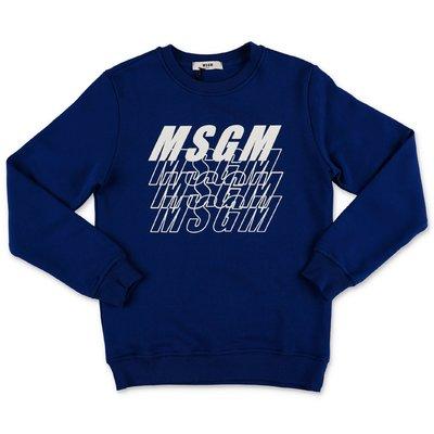 MSGM felpa blu in cotone con multi logo