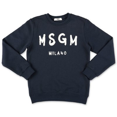 MSGM painted logo navy blue cotton sweatshirt