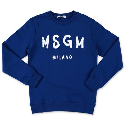 MSGM painted logo blue cotton sweatshirt