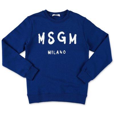 MSGM felpa blu in cotone con logo pennellato