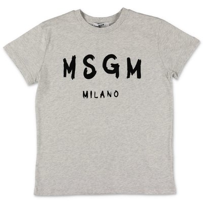 MSGM painted logo marled grey cotton jersey t-shirt