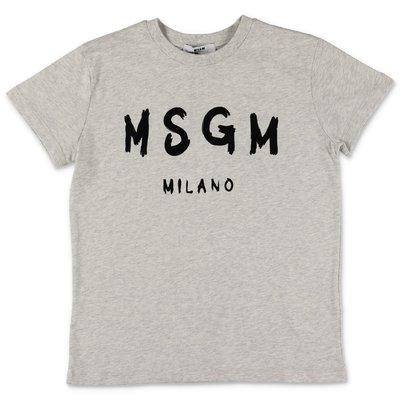 MSGM t-shirt grigio melange in jersey di cotone con logo pennellato