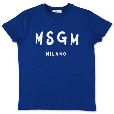 MSGM t-shirt blu in jersey di cotone con logo pennellato