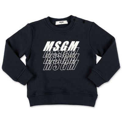 MSGM deep blue multilogo cotton sweatshirt