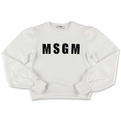 MSGM logo white cotton sweatshirt