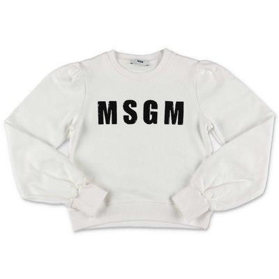 MSGM logo white cotton sweatshirt