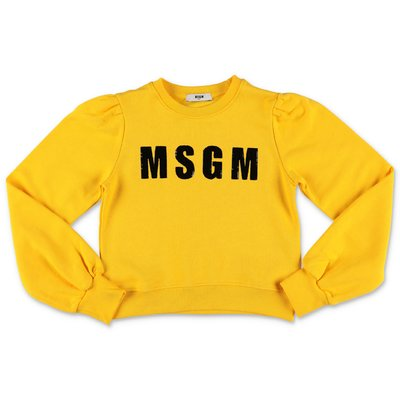 MSGM logo lemon yellow cotton sweatshirt