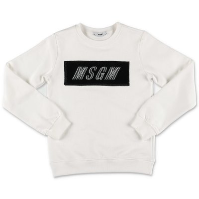 MSGM white logo box cotton sweatshirt