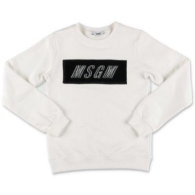 MSGM felpa bianca in cotone con logo box