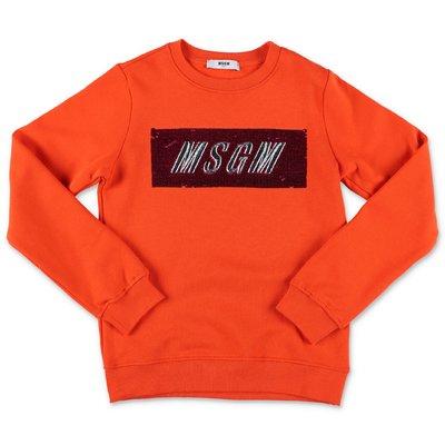 MSGM felpa arancio in cotone con logo box