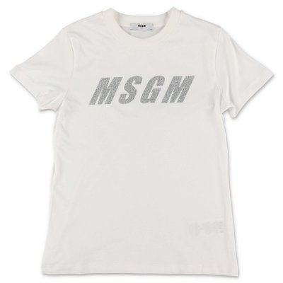 MSGM logo white cotton jersey t-shirt