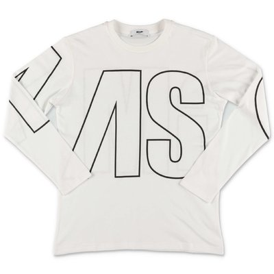 MSGM white logo detail cotton jersey t-shirt
