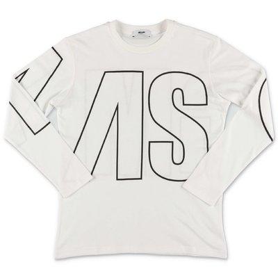 MSGM t-shirt bianca in jersey di cotone con logo