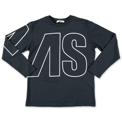 MSGM t-shirt blu navy in jersey di cotone con logo