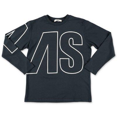 MSGM navy blue logo detail cotton jersey t-shirt