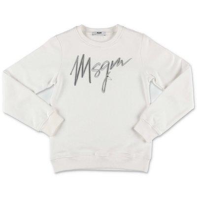 MSGM felpa bianca in cotone con logo