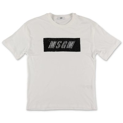 MSGM logo white cotton jersey maxi t-shirt