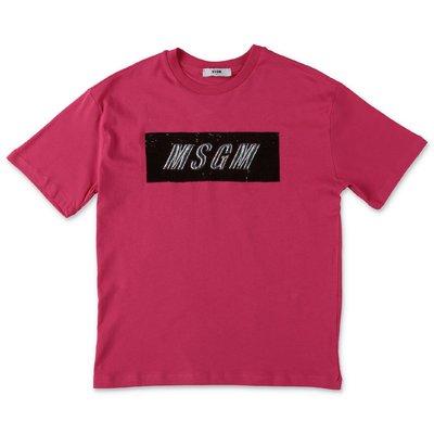 MSGM maxi t-shirt fucsia in jersey di cotone con logo