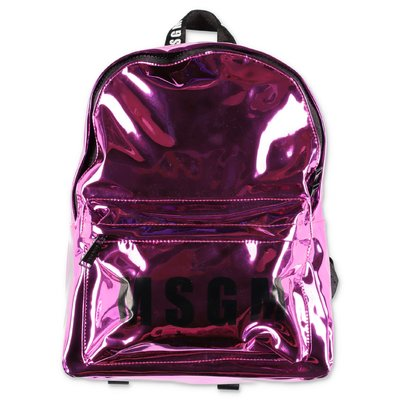 MSGM fuchsia logo detail mirrored pvc backpack