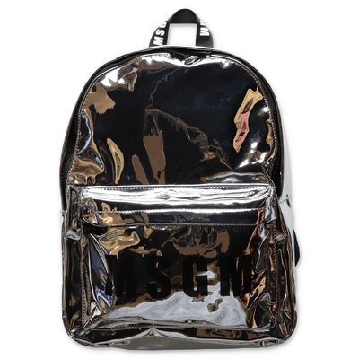 MSGM silver mirrored pvc backpack