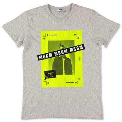 MSGM t-shirt grigio melange in jersey di cotone