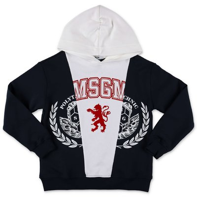 MSGM navy blue logo detail cotton hoodie