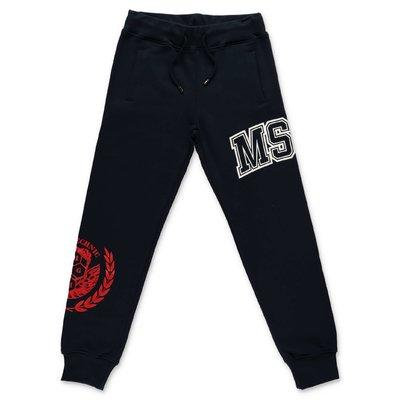 MSGM pantaloni blu navy in felpa di cotone