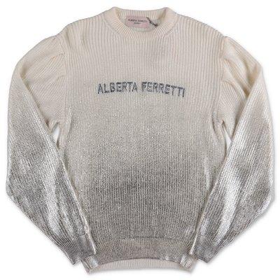 Alberta Ferretti pullover bianco e argento in misto lana merino
