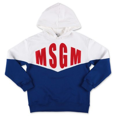 MSGM white & blue cotton hoodie