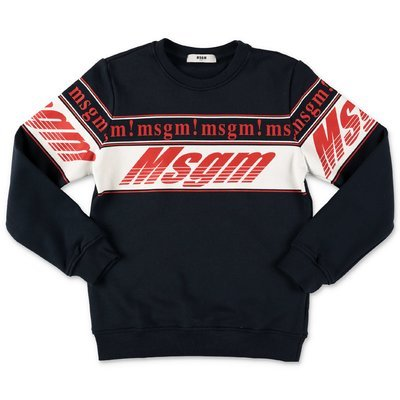 MSGM navy blue logo detail cotton sweatshirt