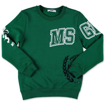 MSGM green logo detail cotton sweatshirt