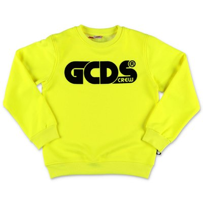 GCDS fluo yellow cotton blend sweatshirt