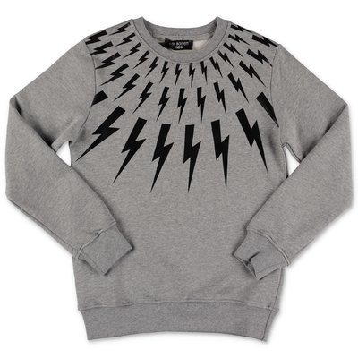 Neil Barrett melange grey cotton sweatshirt with Iconic Thunderbolts