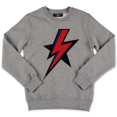 Neil Barrett melange grey cotton sweatshirt