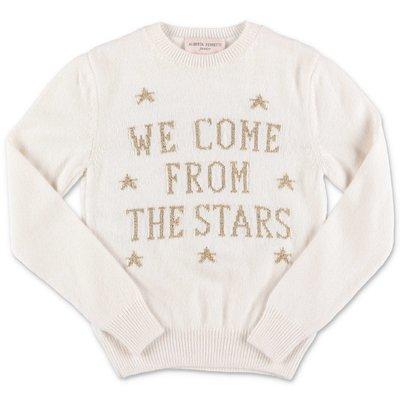 Alberti Ferretti white extrafine merinos & cahsmere knit jumper