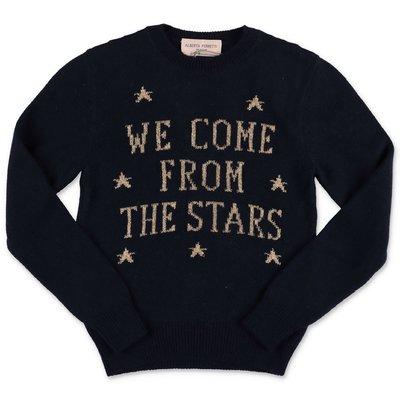 Alberta Ferretti navy blue extrafine merinos & cashmere knit jumper