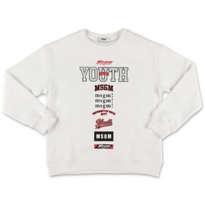 MSGM ''Youth'' white cotton sweatshirt