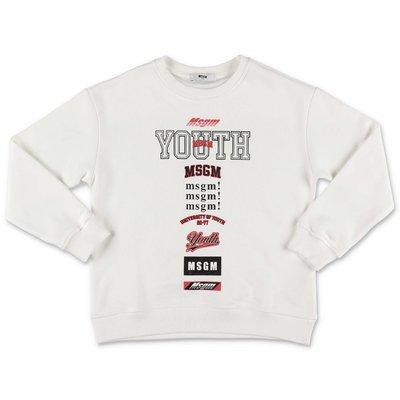 MSGM ''Youth'' white cotton sweatshirt