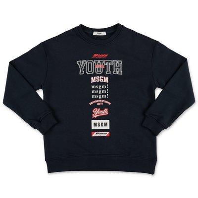 MSGM ''Youth'' navy blue cotton sweatshirt