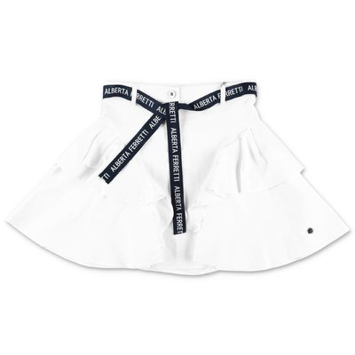 Alberta Ferretti white cotton poplin skirt