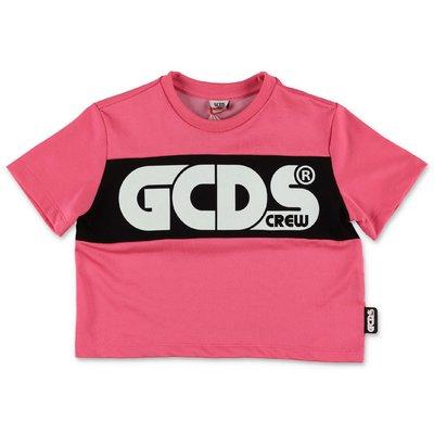 GCDS t-shirt fucsia cropped in misto cotone
